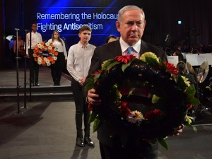 PM Netanyahu laying a wreath at the World Holocaust Forum at Yad Vashem